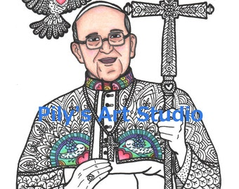 instant download pdf pope francis zentangle coloring page