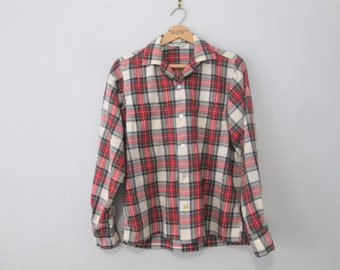 Lord And Taylor Mens Shop Plaid Shirt Vintage 1960s Wool Cotton Red Button Down Long Sleeve S