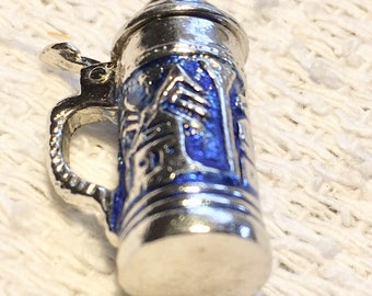 Sterling Silver .925 Beer Stein Tankard Blue Charm Pendant Dangle Style Top opens