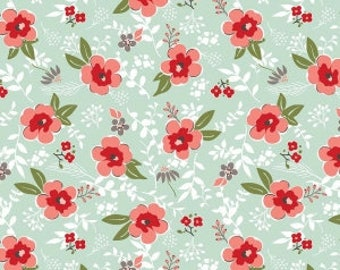 Sweet Prairie Fabric by the yard >> Riley Blake Designs << Prairie Main Mint C6540 >> By Sedef Imer of Down Grapevine Lane < Flower Fabric