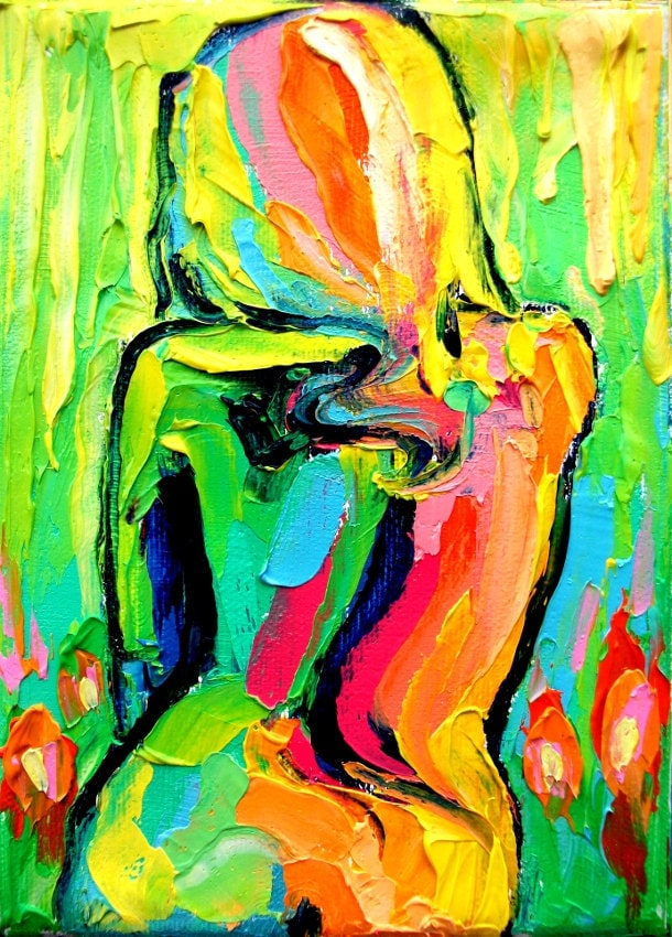 Amazon.com: Abstract Nude Art Print Femme 104 Colorful