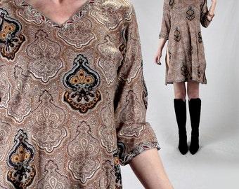 60s dashiki top/morocco cotton tunic top women S-M/Vintage india print gold brown Long sleeve 70s boho hippie festival sheer bohemian tunic