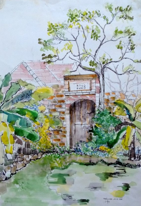 "HOUSE 1923 - 10.5x15"" watercolor on paper, live painting, Vietnam village scene (Đường Lâm ), original by Nguyen Ly Phuong Ngoc"