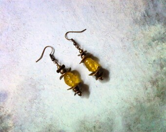 Yellow and Brass Earrings (1711)