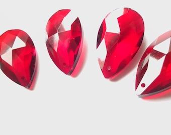 5 Red Teardrops Chandelier Crystals 38mm