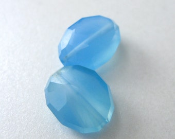 Blue Faceted Chalcedony Oval Beads