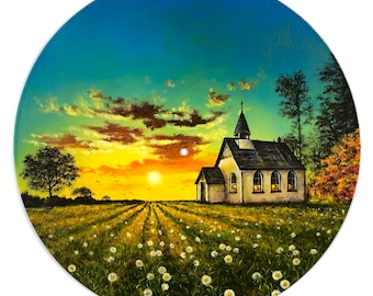 Church's Dandelions: Original Acrylic Painting on Vinyl Record