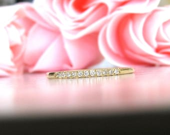 Wedding Band Diamond Solid Gold 14k 11 Stones, Eternity Band, Diamond Engagement, Half Eternity Band, Diamond Wedding, Wedding Ring Diamond