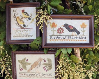 The Bird Collection, Part II; Western Tanager, Redwing Blackbird, Swainson's Thrush : Cross Stitch Pattern by Heartstring Samplery