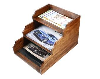 Premium Handmade Walnut Wood Menu Holder Magazine Holder with Three levels and round corners