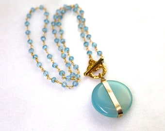 GLOW - Polished Chalcedony Pendant Bezel Wrapped Necklace in 14kg fill...