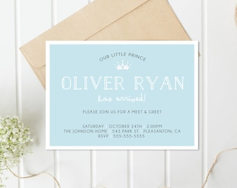 Meet and Greet Invitation, Sip and See Invitation, Baby Boy Invites, Boy Baby Shower, Little Prince, Digital Invitation, Invitations [663]