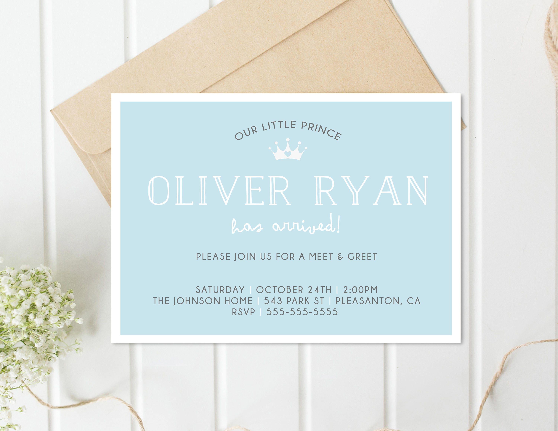 Meet and Greet Invitation Sip and See Invitation Baby Boy