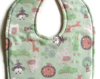 FREE SHIPPING TO U. S. ~ Reversible Flannel Baby Bib - Green and Peach Flannel Bib - Jungle Animals Bib  - Gender Neutral Baby Bib
