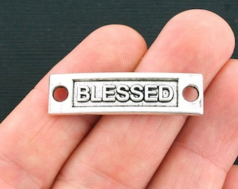 4 Blessed Connector Charms Antique Silver Tone - SC4151