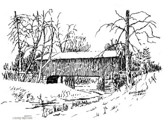 Covered Bridges Note Cards – Indiana Covered Bridges Artwork – Bowster Ford Bridge Gift of Art