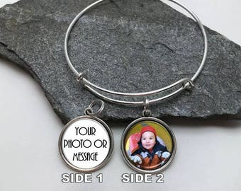 20mm Two Sided Photo Charm Bracelet, Photo Memory Bracelet, Memorial Bracelet, Expanding Bracelet, picture charm bracelet, Two sided charm