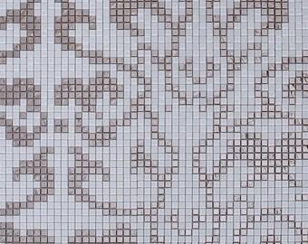 "Silver & White Glass Mosaic Tile Murals Custom Making Wall Tiles Mural Kitchen and Bathroom Decor Tiles (6 PCS, 11.8""x11.8"" /each)"