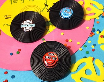 Rock N Roll Vinyl Hand Cast Resin Plastic Pins Novelty Brooch LP Handmade I Want Candy Rock With You