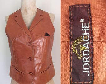 1970's Jordache Light Brown Leather Vest Size Small by Maeberry Vintage