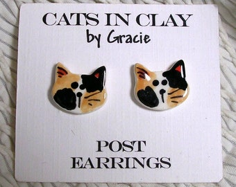 Calico Cat Post Earrings Stud Earring Handmade In Kiln Fired Clay by Gracie