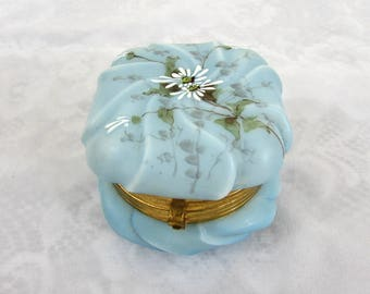 Victorian Wave Crest Art Glass Box - Blue with white daisy & green leaf design - ca 1900