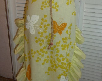 Handmade Skirt, Yellow Green Skirt, Handmade Skirt, Unique Clothing, Recycled Fabrics, Long Skirt, Ruffled Edge, Drawstring Waist, Unique