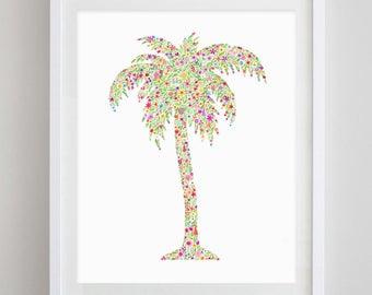 Palm Tree Floral Watercolor Art Print