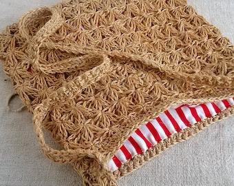 Beige crochet bag Jute crocheted shoulder purse Beautiful sac Striped lining 2 large deep pockets Womens accessories Retro fashion Handmade