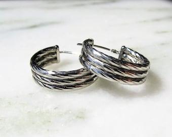 14K White Gold Twisted Rope Style Hoop Earrings