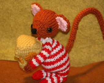 Knit Mouse in his Pajamas with Cheese - Mouse Doll - Knitted Mouse and Cheese toy