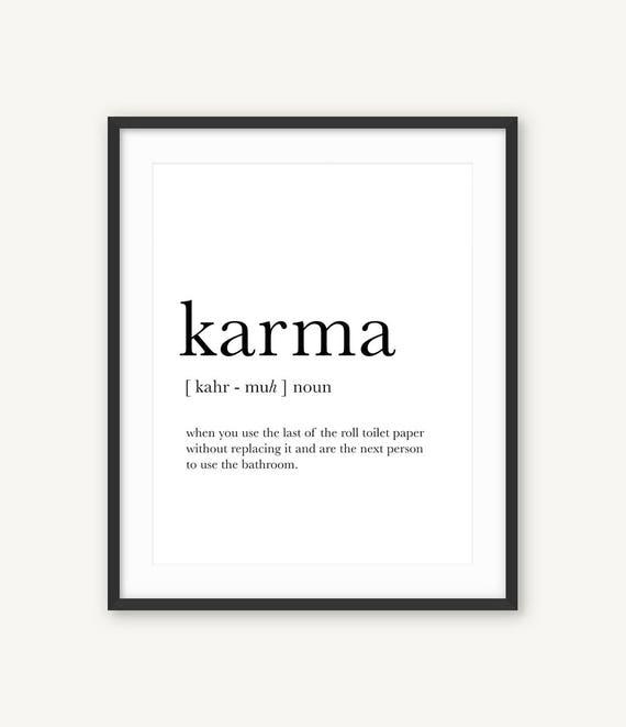 Karma Definition Print Bathroom Wall Decor Karma Printable