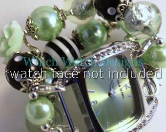 Mint to Be.. Mint Green, Black and White Interchangeable Beaded Watch Band