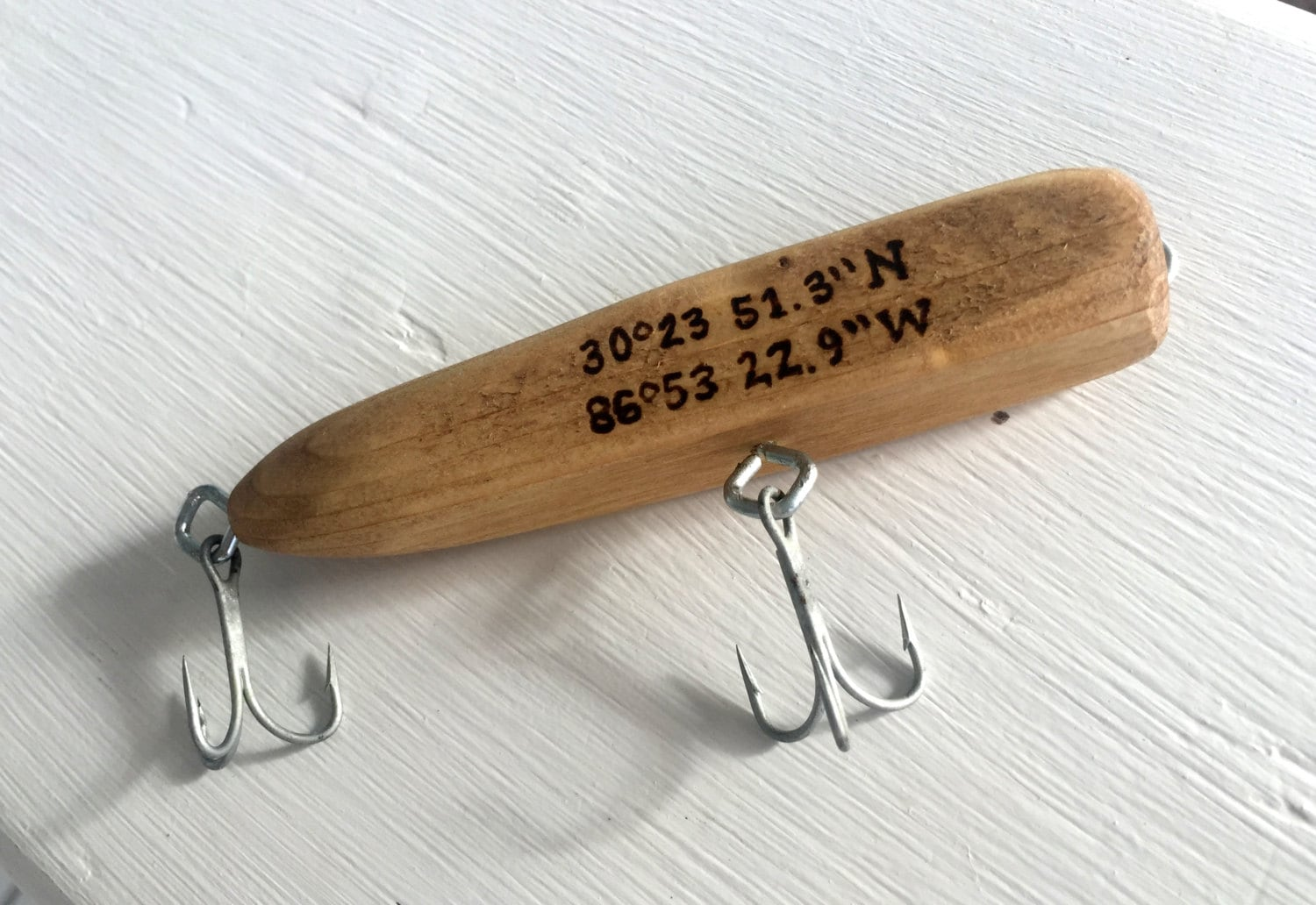 Custom Handmade Wooden Fishing Lure With Wood Burn Phrase
