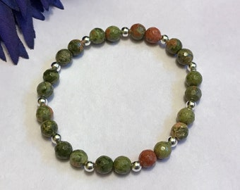 unakite beaded bracelet, stretch, 7 inches, new