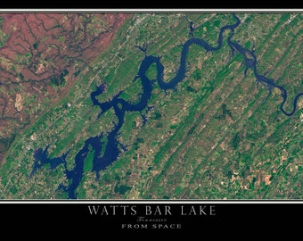Watts Bar Lake Tennessee Satellite Poster Map