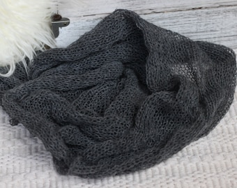 dark Gray Knitted Wrap, New Born Gray Knitted Wrap