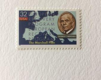 10 Marshall Plan 32c US postage stamp unused - 1997 Vintage -  blue WWII government