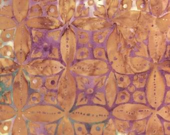 Circular Floral Batik Fabric - Artisan Indonesian from Majestic Batiks - D285 W, Tan & Purple, Priced by the 1/2 yard
