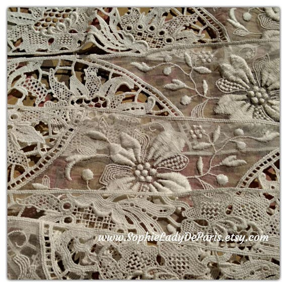 Antique French Batiste and Guipure Lace Unused White Embroidered Floral Cotton Lace Sewing Project Bridal #sophieladydeparis