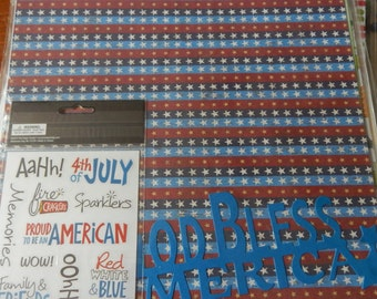 12x12 patriotic fourth of july independence day scrapbook page kits