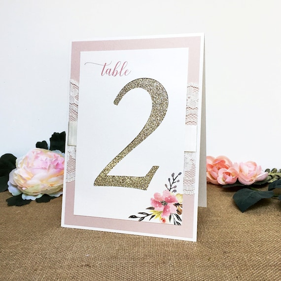 Blush and Gold Glitter Table Numbers - Lace Table Number - Tented Table Number - Floral Table Card - Vintage - Romantic - Bridal Shower