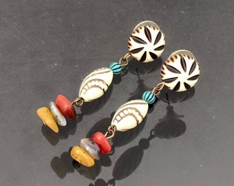 Vintage Jewelry Lucite Bead & Mixed Gemstones Earrings
