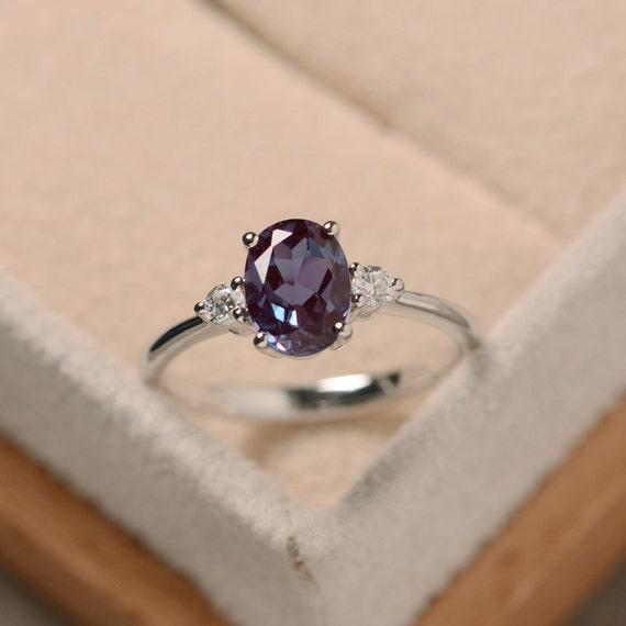 Oval Alexandrite Ring Silver Alexandrite Jewelry Gemstone