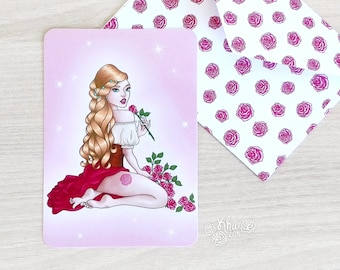 Handmade pink girl with a rose card and roses envelope