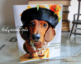 Mothers Day Card Dachshund mom