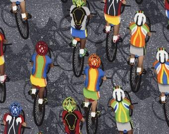 Cycling Fabric / Bikes on Grey / Bicycle Fabric / Gail - C4657 - Grey Timeless Treasures / Fat Quarter / 1 Yard Cut  / 1/2 Yard Cuts