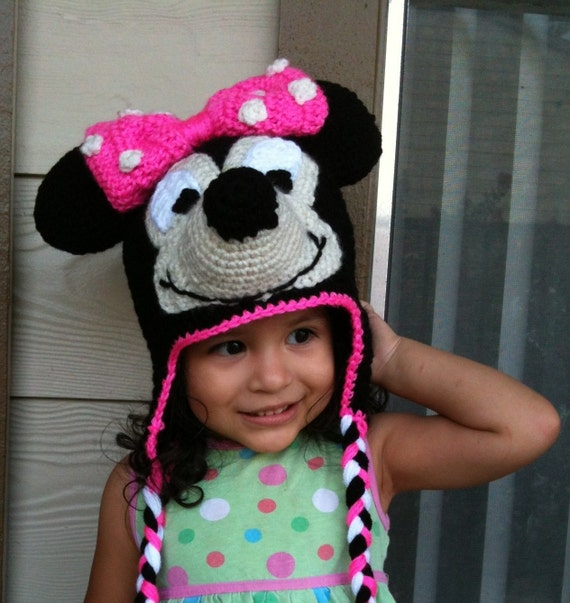instant download minnie mouse crochet beanie ear flaps pdf pattern to  disneyland dis. ad5302881fbd7