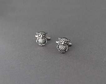 Owl Cufflinks Steampunk Antique Silver Woodland Animal Mens Accessories