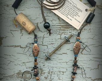 Fly Fishing Lanyard + Tippet Holder with Wire, Bone  and Wood Beads on Brown 2mm Paracord